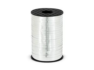 Wstążka plastikowa metalizowana, srebrna, 5mm/225m