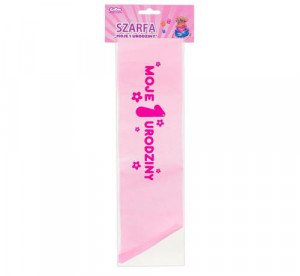 """Szarfa """"Moje 1 Urodziny"""", różowa"""