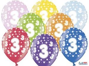 Balony lateksowe cyfry i liczby - Balony na 3 urodziny, mix kolorów / SB14M-003-000-6