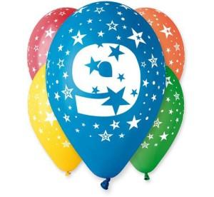"""Balony lateksowe cyfry i liczby - Balon 12"""" z nadr. """"9"""", pastel mix / 5szt."""