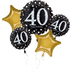 """Bukiet 5 balonów foliowych na """"40-urodziny"""""""