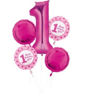 """Bukiet 5 balonów foliowych na """"1-urodziny Girl"""""""