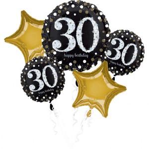 """Bukiet 5 balonów foliowych na """"30-urodziny"""""""