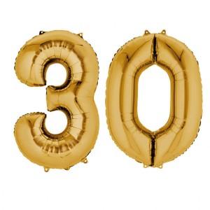 """Zestaw balony foliowe cyfry """"30"""", złote, 86 cm"""