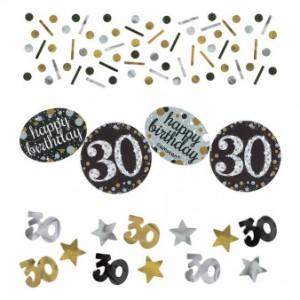 """Konfetti """"30 Urodziny"""", złoty-srebrny"""