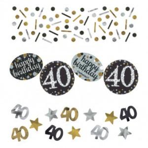 """Konfetti """"40 Urodziny"""", złoty-srebrny"""