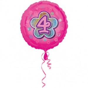"""Balony foliowe z cyframi i liczbami - Balon foliowy na """"4 urodziny - Kwiat"""" /  45 cm"""
