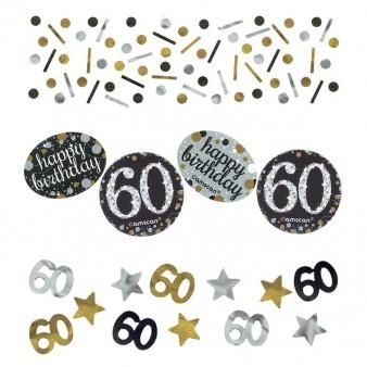 Dekoracje na 60 urodziny, serwetki, świeczki, konfetti