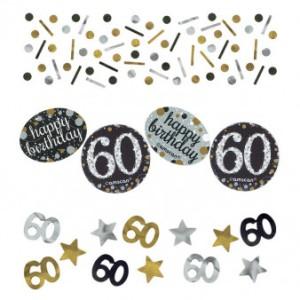 """Konfetti """"60 Urodziny"""", zloty-srebrny"""