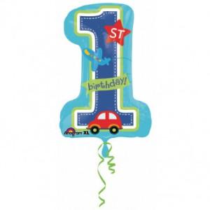 """Balon foliowy SuperShape XL """"1 urodziny - chłopiec"""", 48x71 cm"""
