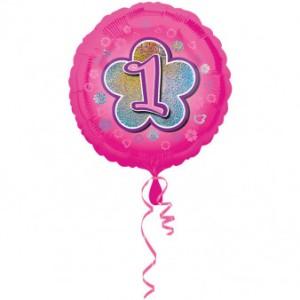 """Balony foliowe z cyframi i liczbami - Balon foliowy na""""1 urodziny - Kwiat"""" / 45 cm"""