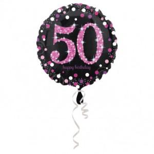"""Balon foliowy okrągły """"50 Urodziny"""", 43 cm"""