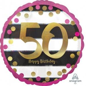 """Balon foliowy okrągły """"Pink & Gold Milestone 50"""", 43 cm"""