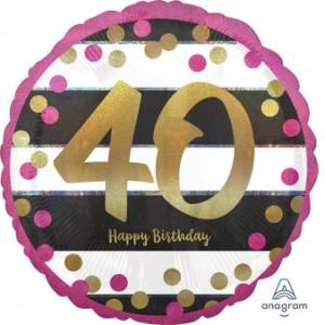 """Balon foliowy okrągły """"Pink & Gold Milestone 40"""", 43 cm"""