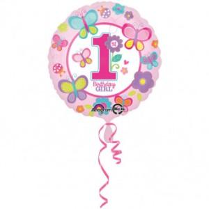 """Balon foliowy okrągły """"1 Urodziny - Dziewczynka"""", 43 cm"""