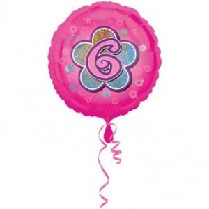 """Balony foliowe z cyframi i liczbami - Balon foliowy na """"6 urodziny - Kwiat"""" / 45 cm"""