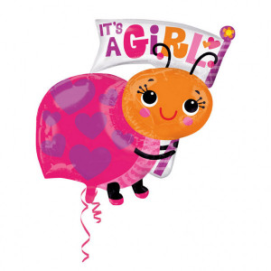 "Balon foliowy SuperShape biedronka ""It`s a girl"""