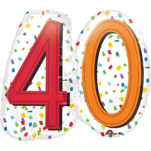 """Balony foliowe na okrągłe urodziny - Balon foliowy na """"40 urodziny"""" / 60x55 cm"""