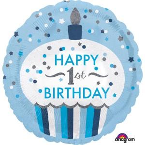 """Balony foliowe z cyframi i liczbami - Balon na Roczek niebieska Muffinka """"Happy 1st birthday"""" / 3453001"""