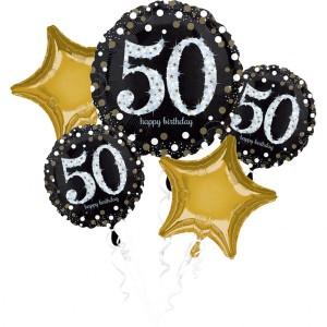 """Bukiet 5 balonów foliowych """"50- Urodziny"""""""