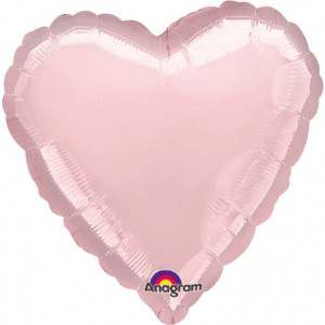 Balony foliowe Serca - Balon foliowy metalizowany - Serce jasny róż / 43 cm