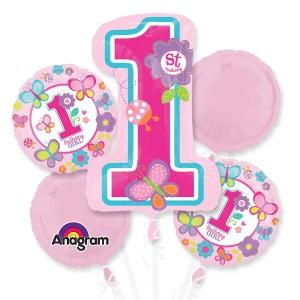 """Bukiet 5 balonów foliowych """"Sweet Birthday Girl"""""""