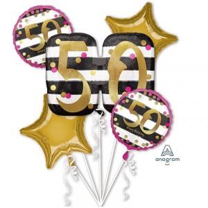 """Bukiet 5 balonów foliowych """"Pink & Gold Milestone - 50 Urodziny"""""""