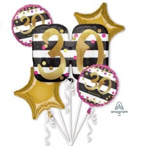 """Bukiet 5 balonów foliowych """"Pink & Gold Milestone - 30 Urodziny"""""""