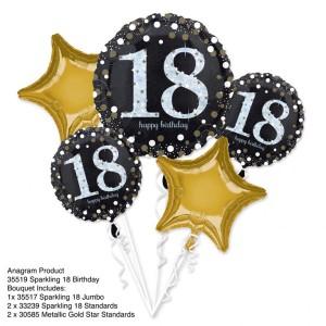 """Bukiet 5 balonów foliowych """"18- Urodziny"""""""
