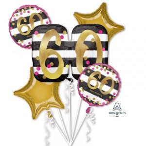 """Bukiet 5 balonów foliowych """"Pink & Gold Milestone -60 Urodziny"""""""
