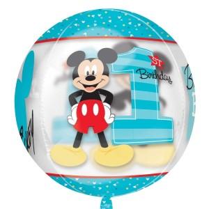 """Balon foliowy Orbz - kula """"Mickey - 1 Urodziny"""", przezroczysty, 38x40 cm"""