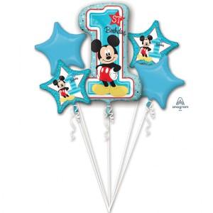 """Bukiet 5 balonów foliowych """"Mickey 1st Birthday"""""""