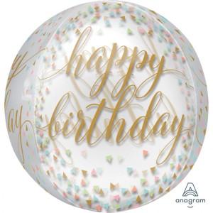 """Balon foliowy Orbz - kula """"Pastel Confetti"""", transparentny, 38x40 cm"""