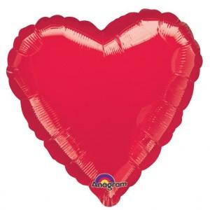 Balon foliowy serce, czerwony metalik, 43 cm