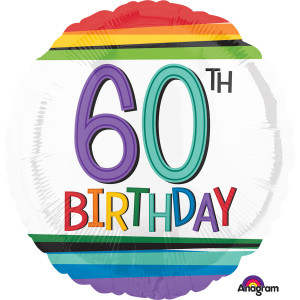 """Balon foliowy okrągły """"60 urodziny"""", 43 cm"""