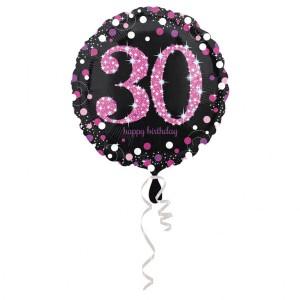 """Balon foliowy okrągły """"30 urodziny"""", 43 cm"""
