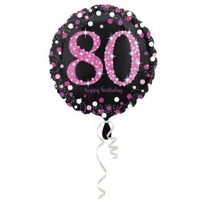 """Balon foliowy okrągły """"80 urodziny"""", 43 cm"""