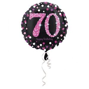 """Balon foliowy okrągły """"70 urodziny"""", 43 cm"""