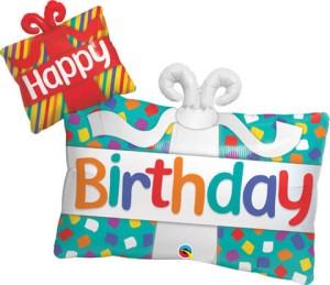 """Balony foliowe kształty z napisami - Balon foliowy 39"""" Prezent """"Happy Birthday"""""""