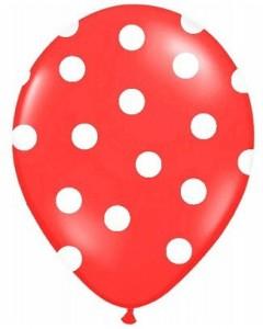 """Balony lateksowe groszki i konfetti - Balony lateksowe z nadrukiem """"Kropki"""", czerwone / 30 cm SB14P-223-007JW/6"""