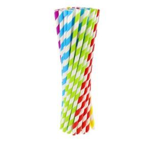 Rurki (słomki) pap. w paski - 5 kolorów, 6x197mm