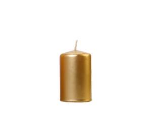 Świeczki walce - Złota świeca walec, metalizowana / 10x6,5 cm