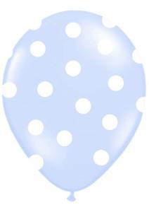 """Balony lateksowe groszki i konfetti - Balony lateksowe z nadrukiem """"Kropki"""", niebieskie / 30 cm"""