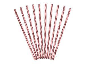 """Słomki papierowe czerwone """"Szlaczki"""", 19,5cm, 1op."""