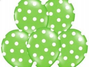 Balony lateksowe groszki i konfetti - Balony lateksowe zielone w białe Kropki / SB14P-223-102W/6