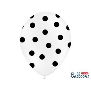 """Balony lateksowe groszki i konfetti - Balony lateksowe z nadrukiem """"Kropki"""", białe / 30 cm SB14P-223-008B/6"""