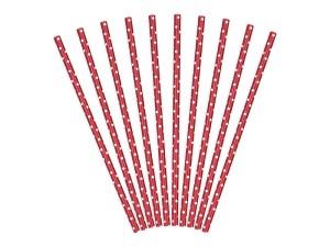 Słomki papierowe, czerwone, białe kropki 19,5cm, 1op.
