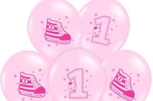 """Balony lateksowe cyfry i liczby - Balony urodzinowe na Roczek dla dziewczynki """"Trampek - cyferka 1"""" / SB14P-222-081J/6"""