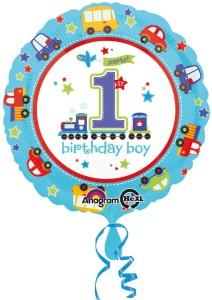 """Balon foliowy okrągły """" 1 Urodziny - Chłopiec"""", 43 cm"""