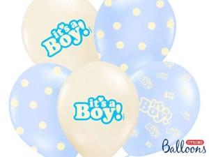 """Balony lateksowe z napisami - Balony na Narodziny dziecka lateksowe """"It`s a Boy"""" / SB14P-251-000/6"""